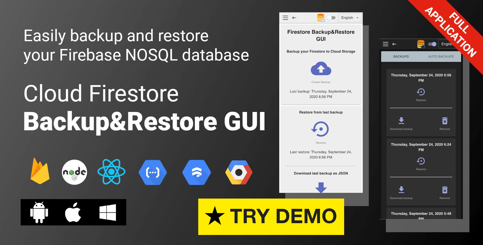 Firebase Cloud Firestore Backup and Restore Graphical User Interface GUI Demo