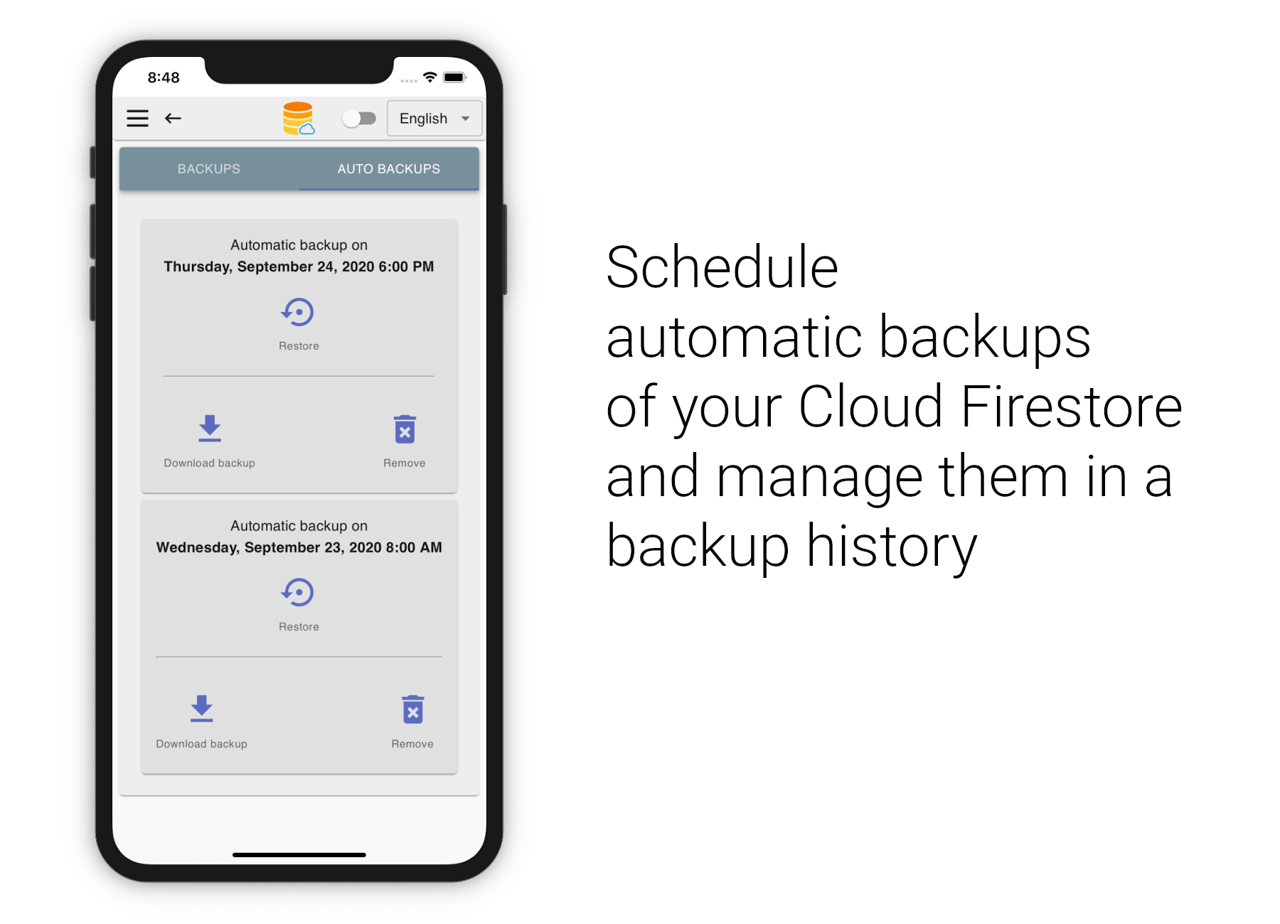 Firebase schedule Cloud Firestore backups to Google Cloud Storage and schow them in backup history