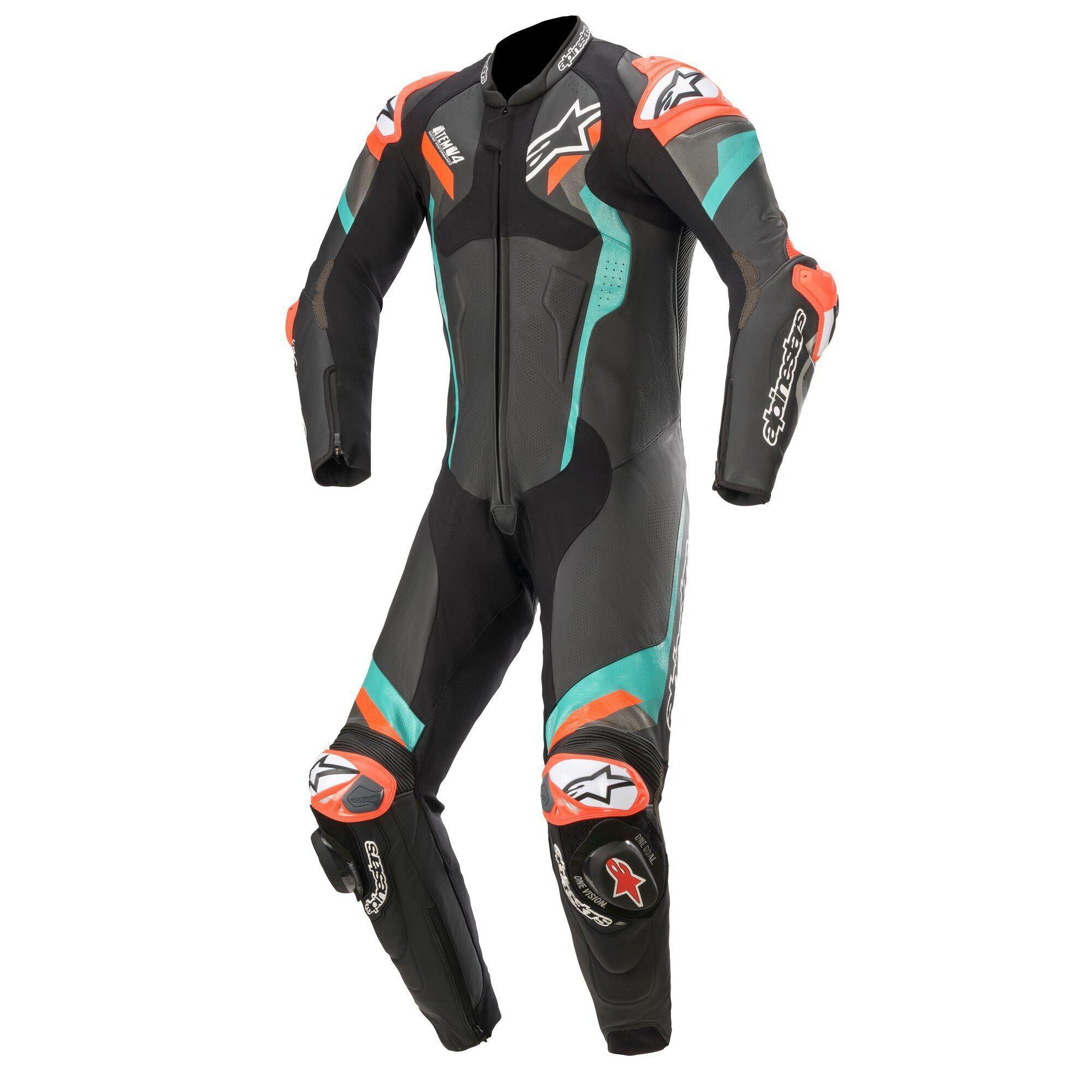 Alpinestars Atem V4 Petrol/Fluro Red One Piece Leather Suit