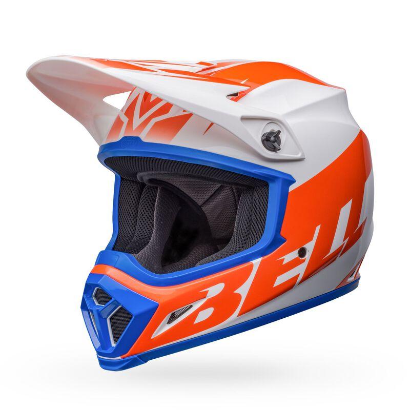 Bell 2022 MX-9 Mips Disrupt Gloss White/Orange Helmet