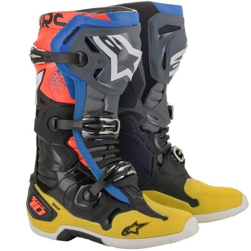 Alpinestars Tech 10 Black/Fluo Yellow/Blue Boots