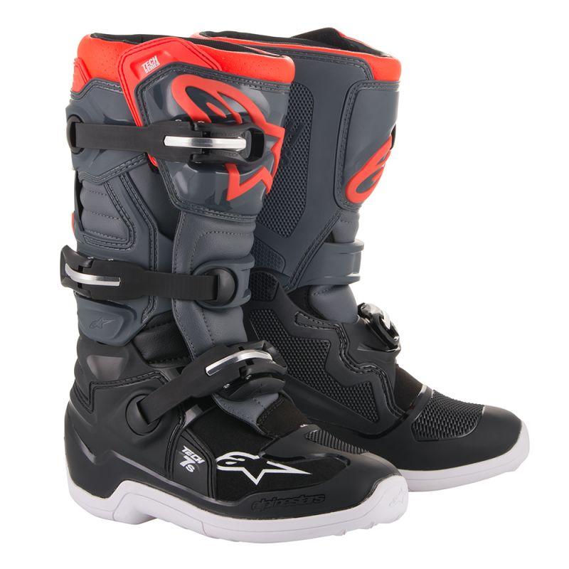 Alpinestars Youth Tech 7S Black/Dark Grey/Red Boots