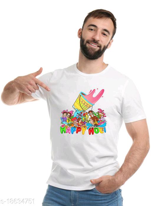 Unisex Printed Polyester Holi T-Shirt Happy Holi Tshirt