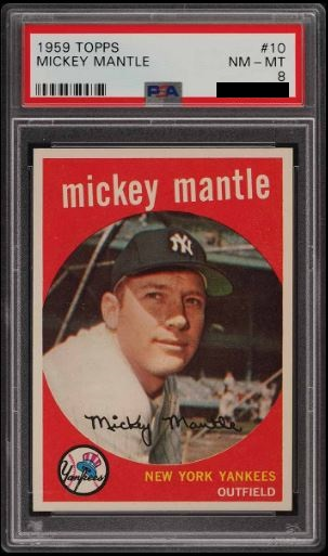 1959 Topps Mickey Mantle Base PSA 8