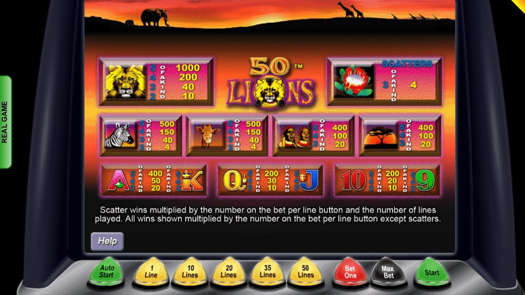 50 Lions slot game