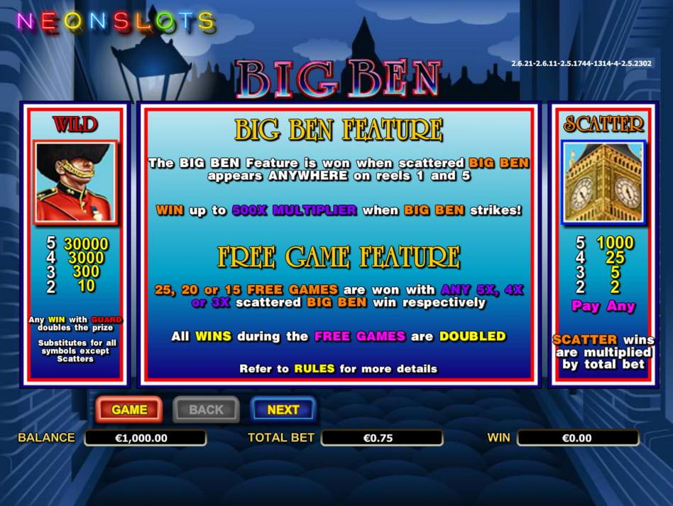 Big Ben slot game