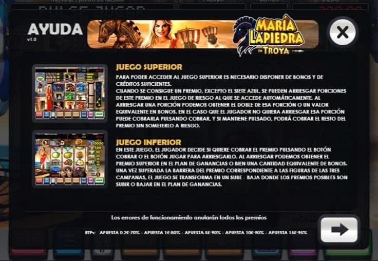 Maria Lapiedra en Troya slot game