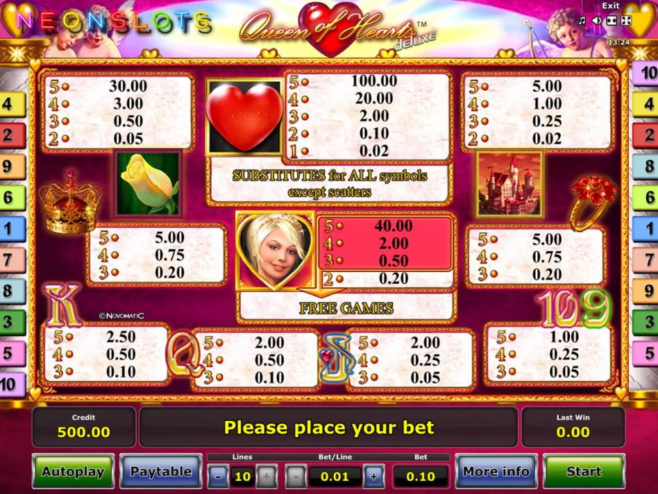 Queen of Hearts deluxe slot game
