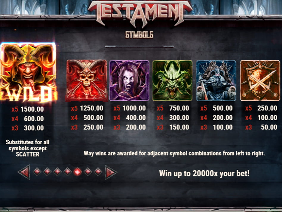 Testament slot game