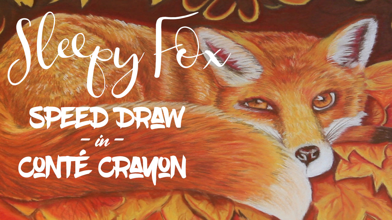 Sleepy Fox in Conté Crayon | Timelapse | Calm and Relaxing Ambient Music | 2017