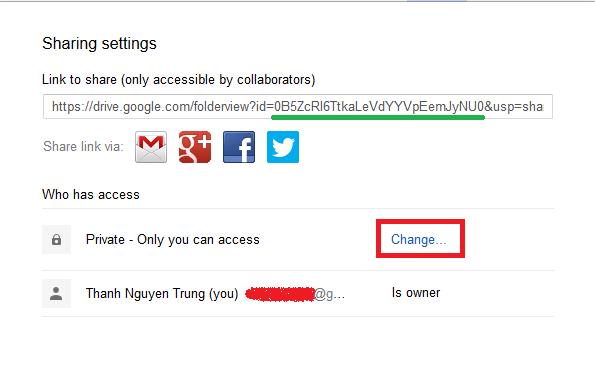 Thay đổi thuộc tính Share - Folder ID