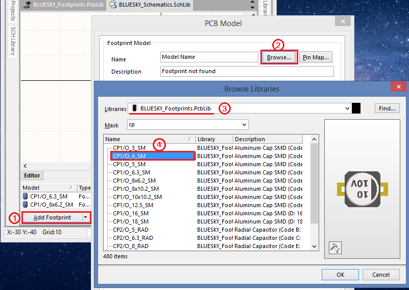 Add new footprints for a component
