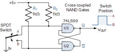 Sử dụng 2 cổng NAND IC74LS00 để chống rung