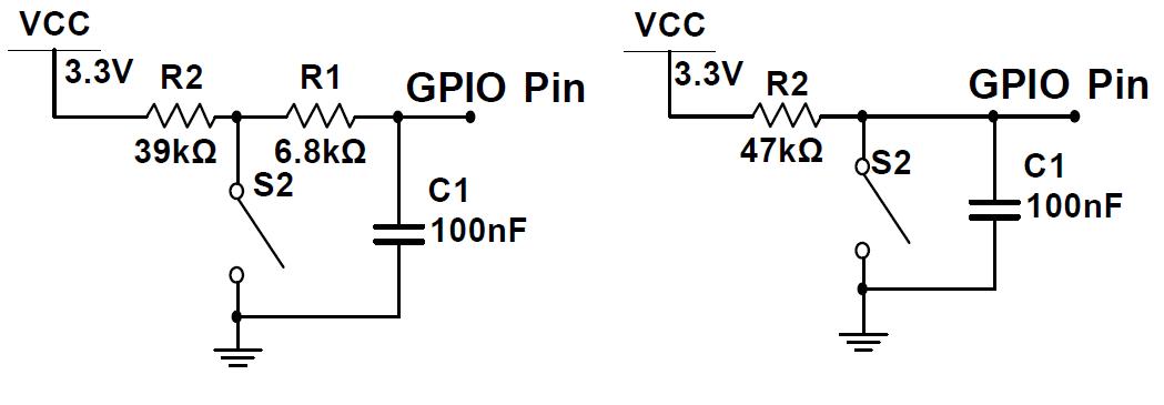 Ví dụ chống rung phím bằng tụ và điện trở