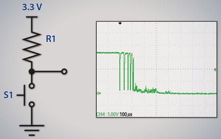 Dạng sóng tín hiệu từ nút nhấn khi chưa có chống rung