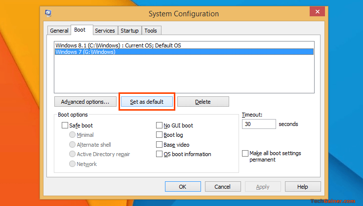 Set mặc định menuboot