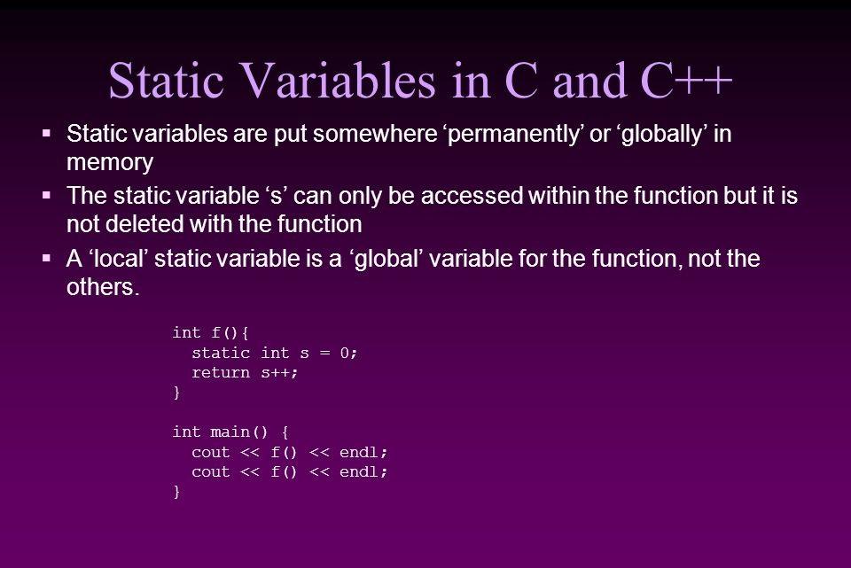 Từ khóa Static trong lập trình C/C++