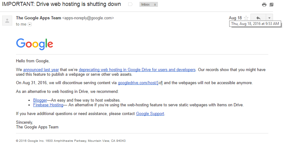 Google drive hosting is shutting down announcement