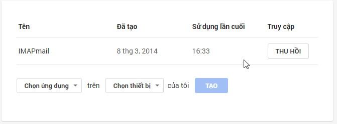 Gmail - Cài đặt mật khẩu cho ứng dụng
