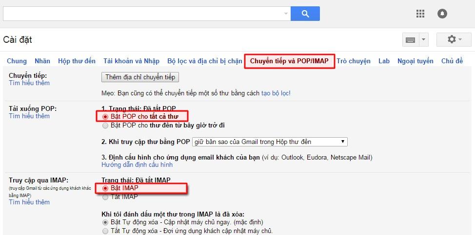 Bật chế độ SMTP cho Gmail