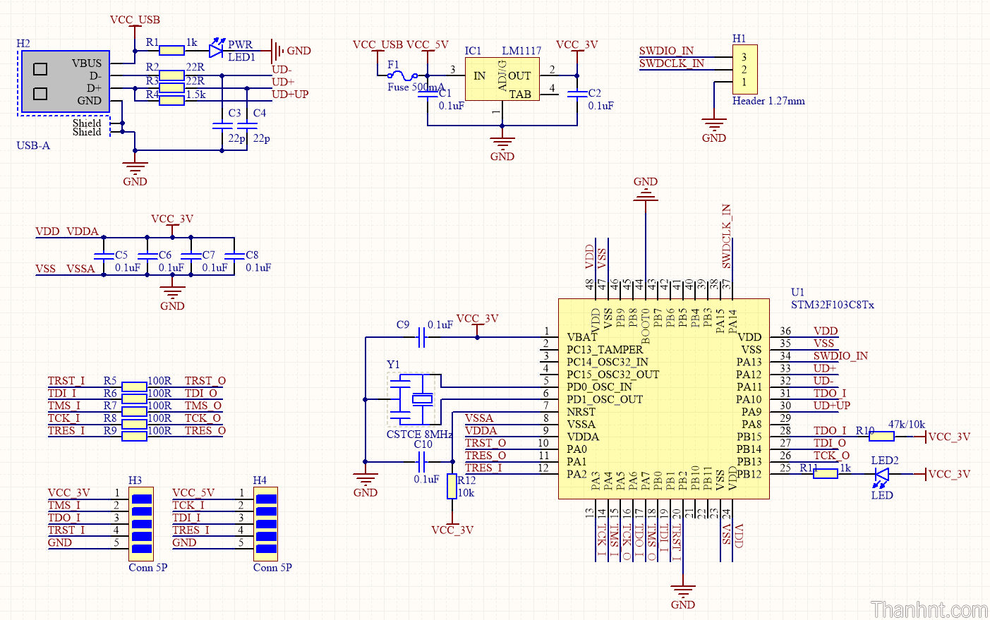 Mạch nguyên lý Jlink ARM-OB STM32