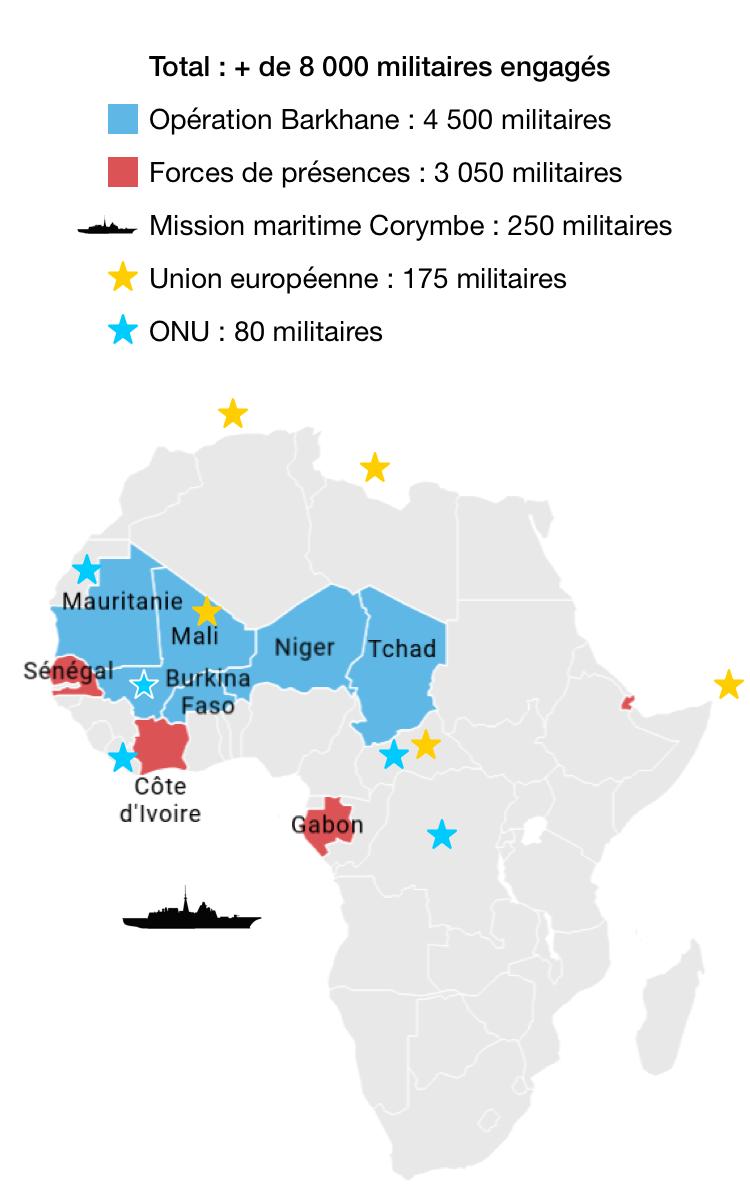 Déploiements opérationnels des forces armées françaises en Afrique