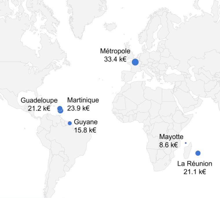 PIB par habitant en métropole et dans les DOM, en milliers d'euros par an