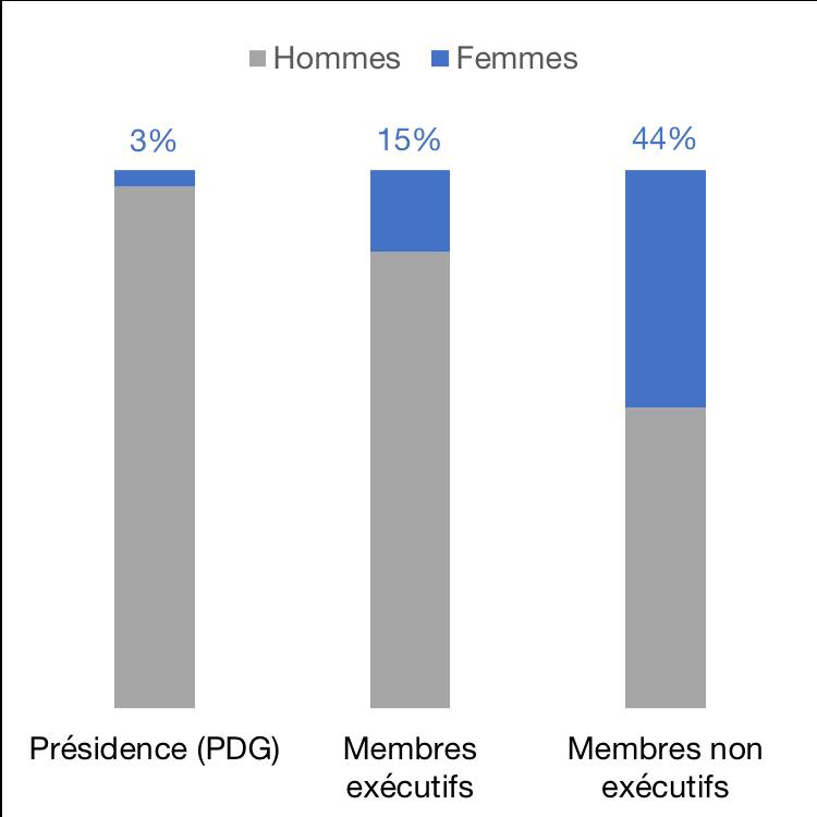 Représentation des femmes dans les entreprises listées publiquement, en %