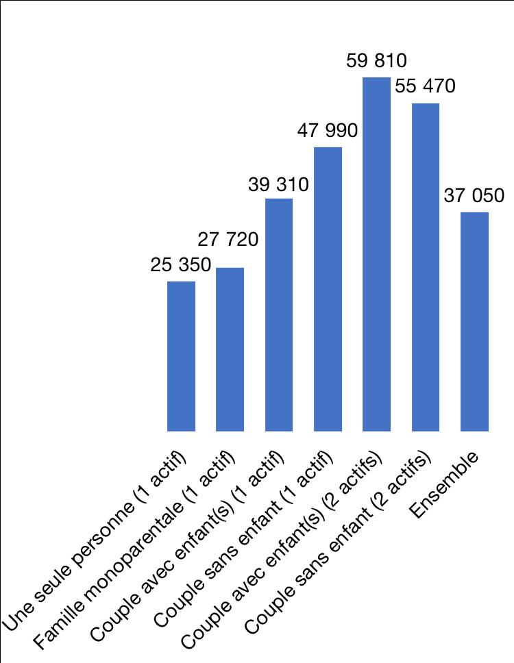 Revenu annuel moyen par type de ménage en 2016, en €