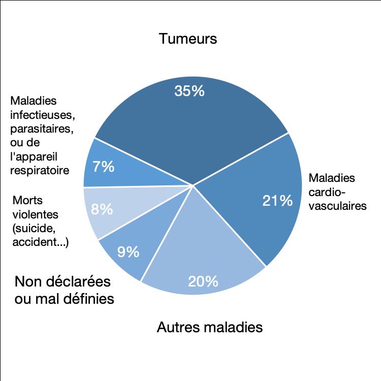 Causes de décès en 2014, en % du total