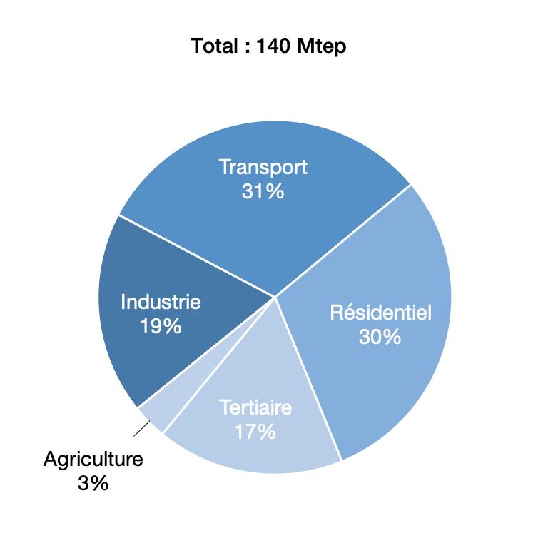 Consommation finale d'énergie en 2016, en %