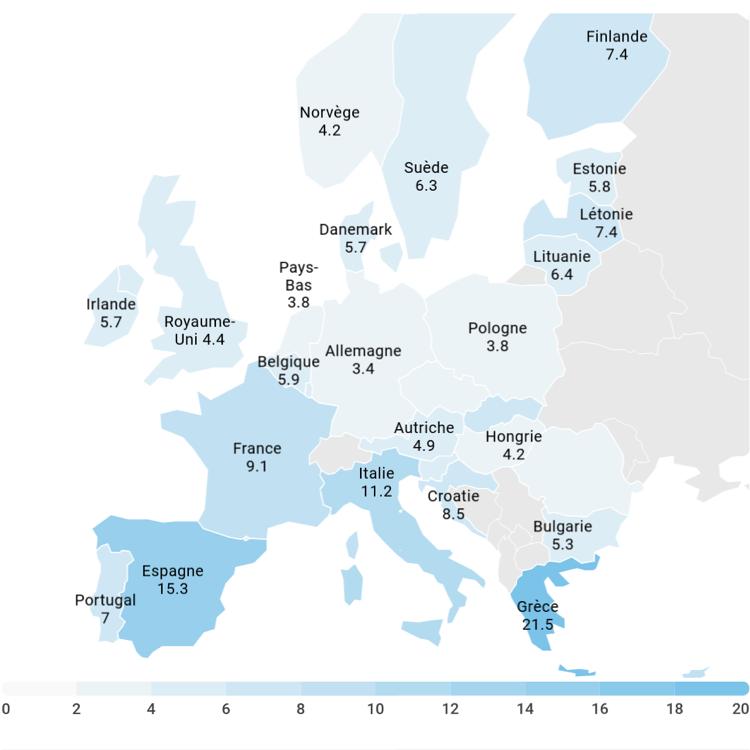 Taux de chômage en Union européenne en 2018, en % de la population active