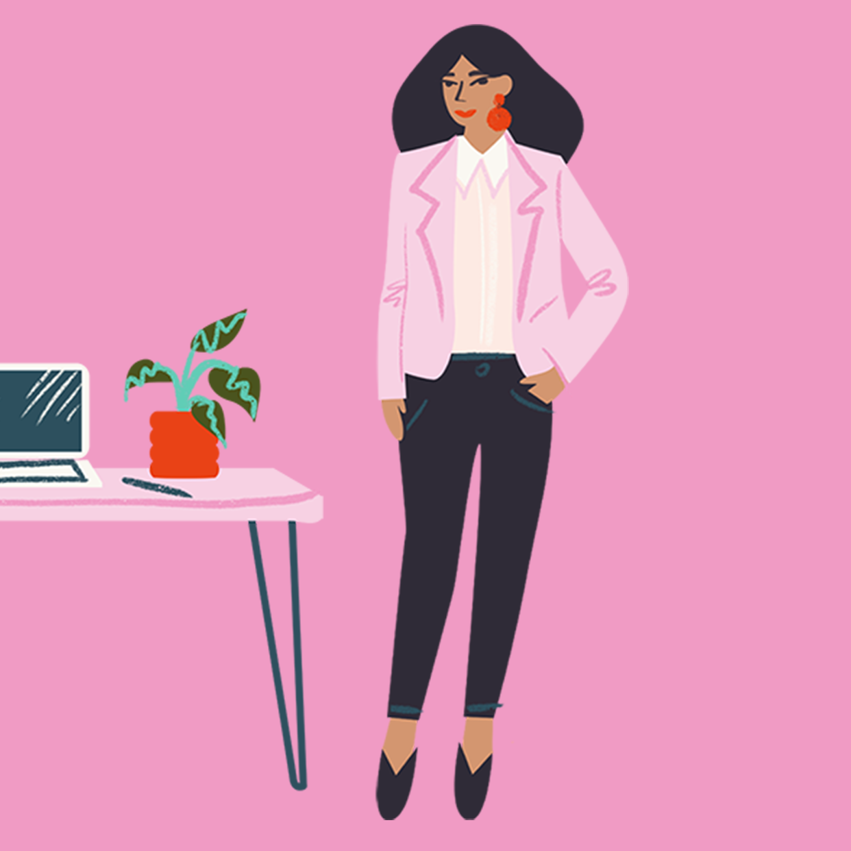 Illustration of a woman standing by a desk