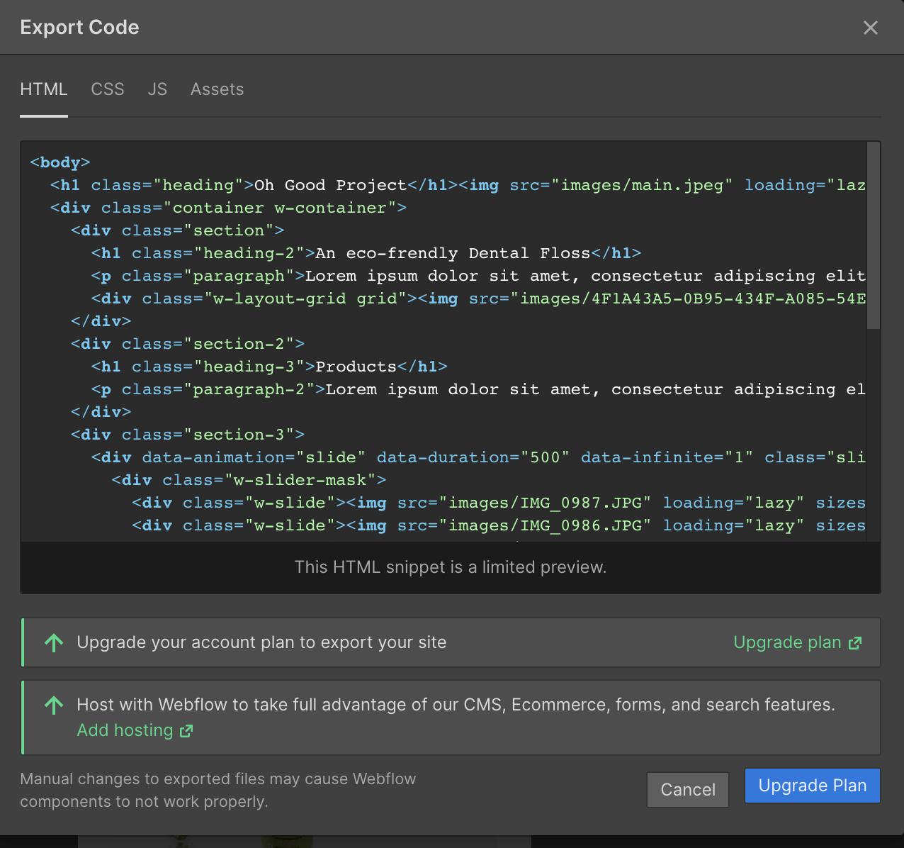 code export