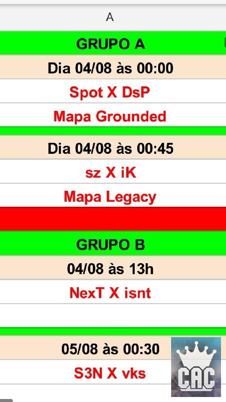 CAC  - Esses são os jogos ja confirmados ,lembrando que o primeiro jogo e amanhã às 00:00