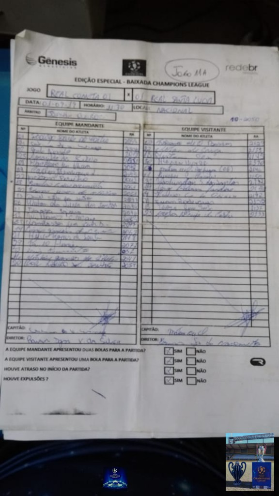 Baixada Champions League - Duque de Caxias - 2019 - (Edição Especial) - SÚMULA - PARTE 01