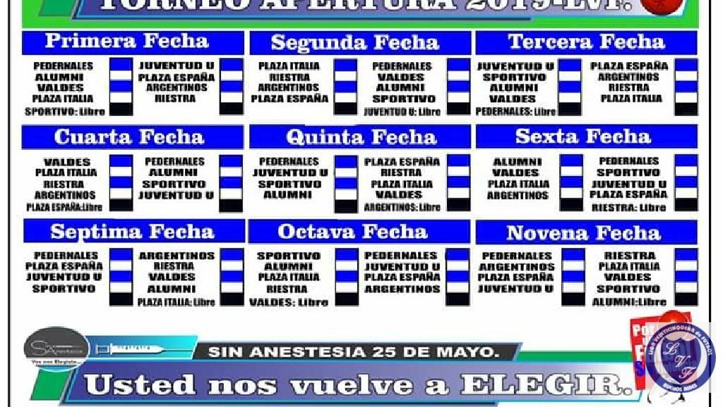 LIGA VEINTICINQUEÑA DE FUTBOL - fixture apertura 2019