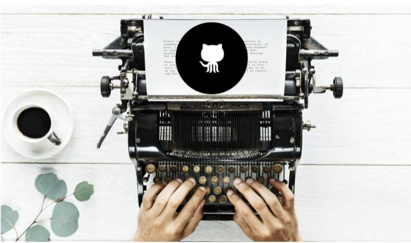 Hands typing on an old-school typewriter