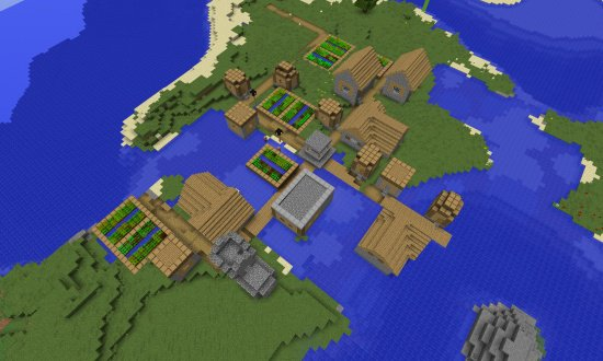 VILLAGE AT SPAWN WITH BLACKSMITH MINECRAFT SEED 7545576563913882397