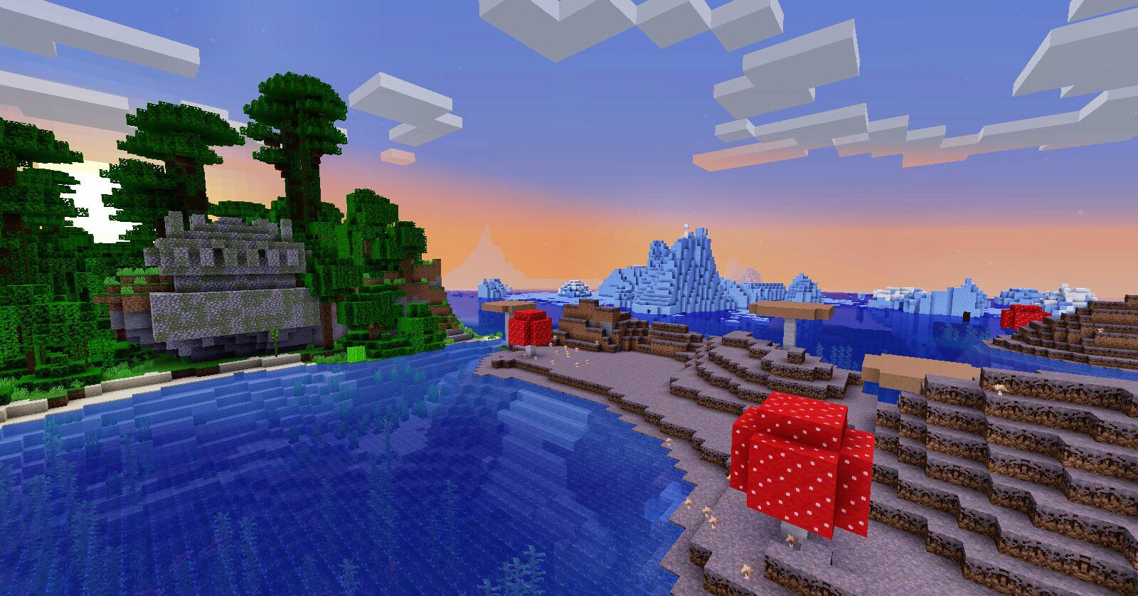 Suspended Jungle Temple by Mushroom, Glacier & Shipwreck! MINECRAFT SEED -5122472569260530564