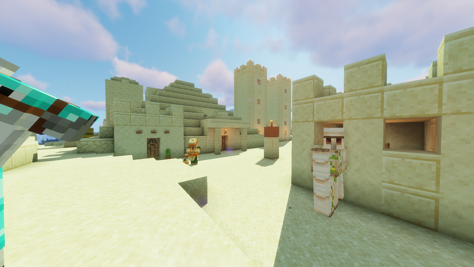 village with a pyramid in a Desert! MINECRAFT SEED 79942115385233205