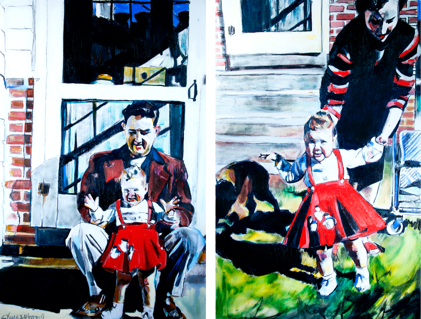 Louisiana Mother and Father with Daughter in Red Dress Diptych