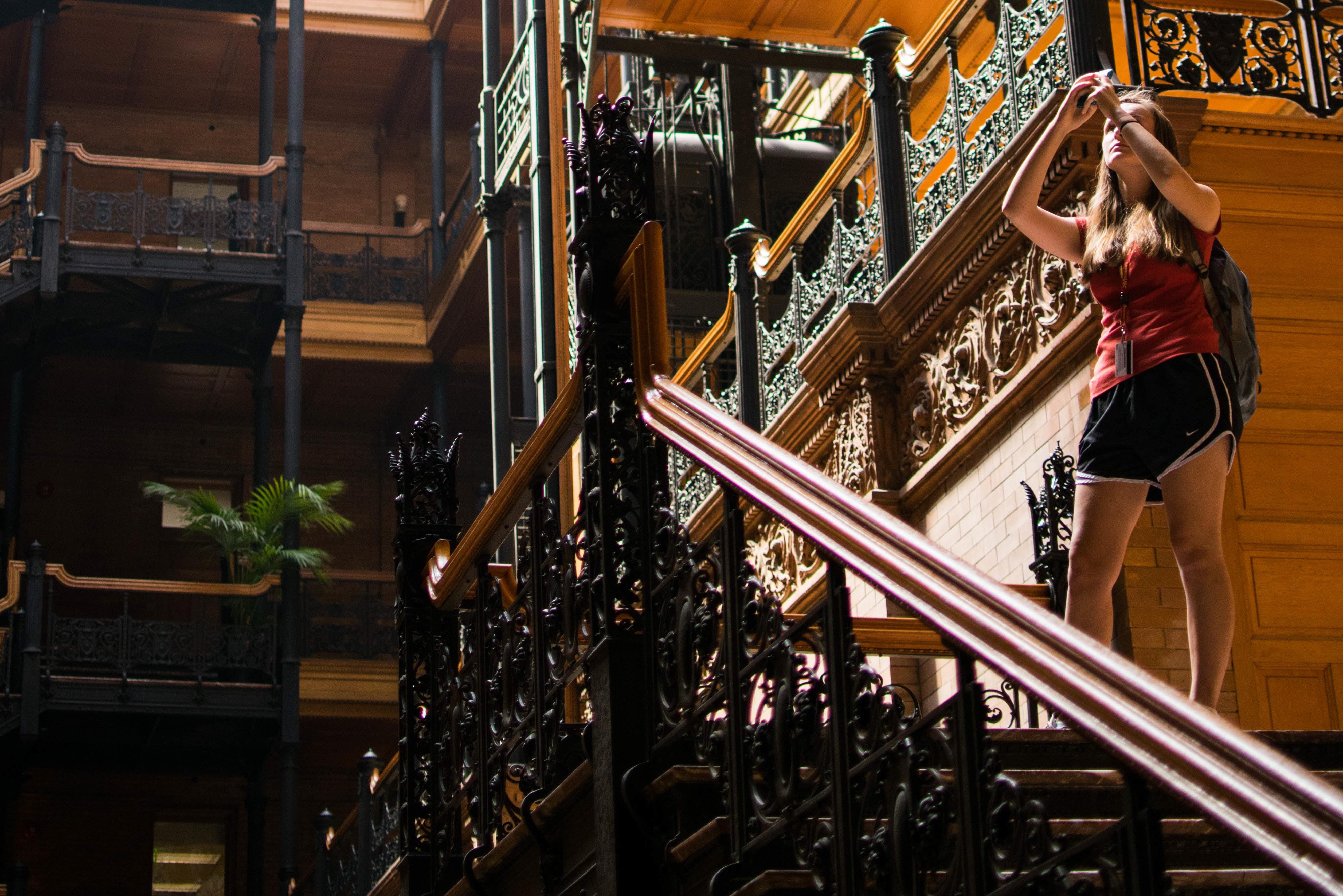 Student documents the Bradbury Building