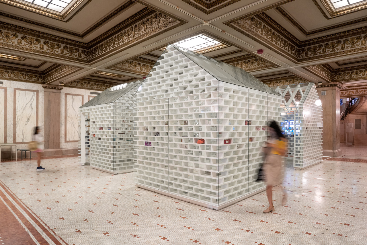 """MASS Design Group created """"The Gun Violence Memorial Project"""" exhibit with conceptual artist Hank Willis Thomas. The installation was on display at the 2019 Chicago Architecture Biennial."""