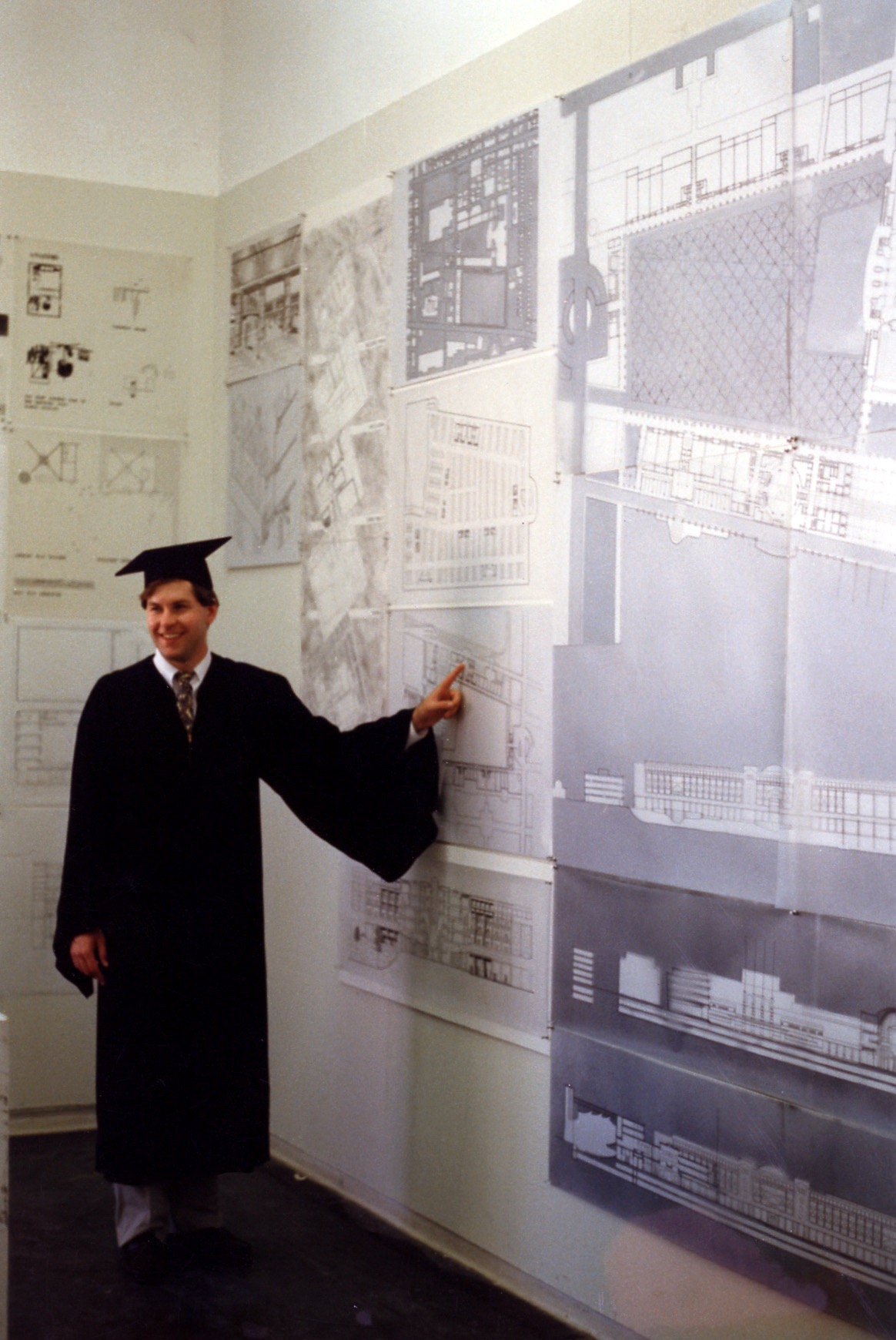 Alumnus Grant Kirkpatrick, '86, with his B.Arch senior thesis project. Photo courtesy of Grant Kirkpatrick.