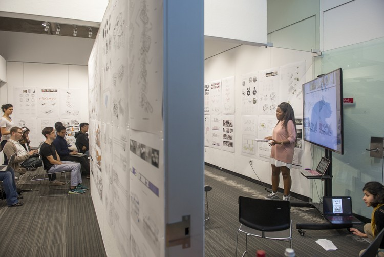 Students, faculty and visiting critics gather at USC Architecture for final reviews.