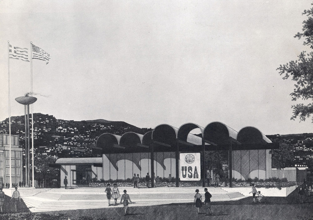 Trade Fair Pavilion, U.S. Department of Commerce in Salonica, Greece (Richard Dorman & Associates), 1962. Young Woo worked on this project while in Dorman's office. Courtesy of the author's private collection.