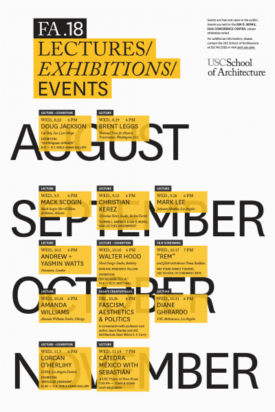 USC School of Architecture Announces Fall 2018 Public Lectures and Events Program