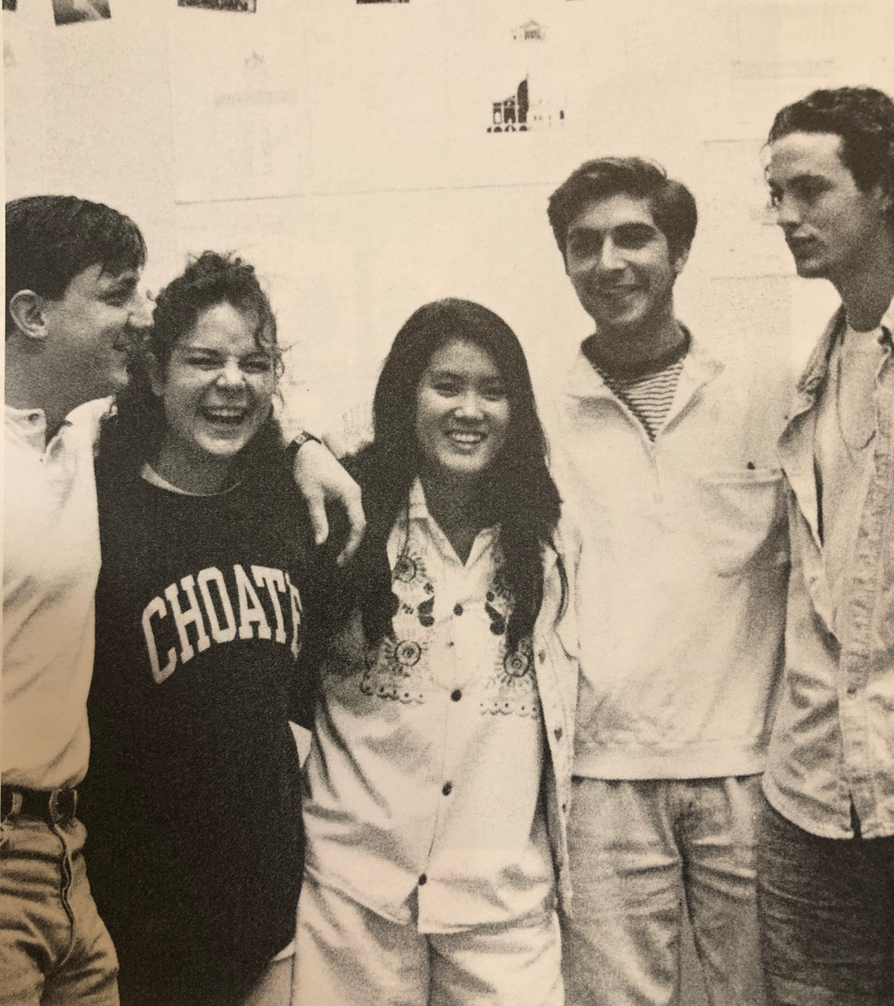 From left to right: Christopher Scott Mazzier, '93, Leanne Elizabeth Toler, '94, Corinne Verdery, '93, Harry Pete Christidis, '94, and Randal Knowles Pruitt, '94. Photo courtesy of Corinne Verdery.