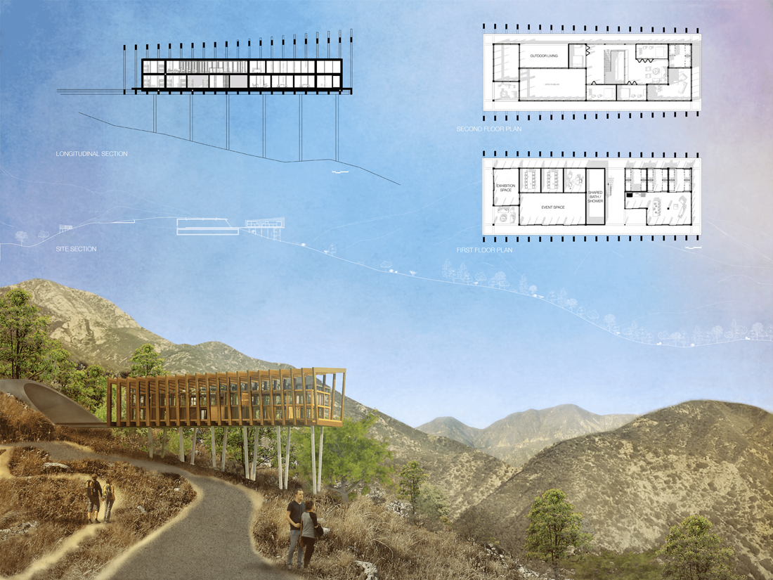 It is a contemporary adaptation of the fire lookout tower typology, and features a moving visitor center on a rail system over Brown Mountain Truck Trail near the L.A. suburb of Altadena.